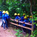 The Student Conservation Association working the trails at the Houston Arboretum.