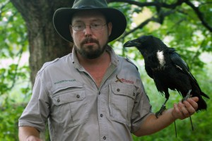 Kevin Gaines from Wildlife Revealed and Lenore the Raven at the Houston Arboretum's HAWK WALK with Live Birds of Prey!