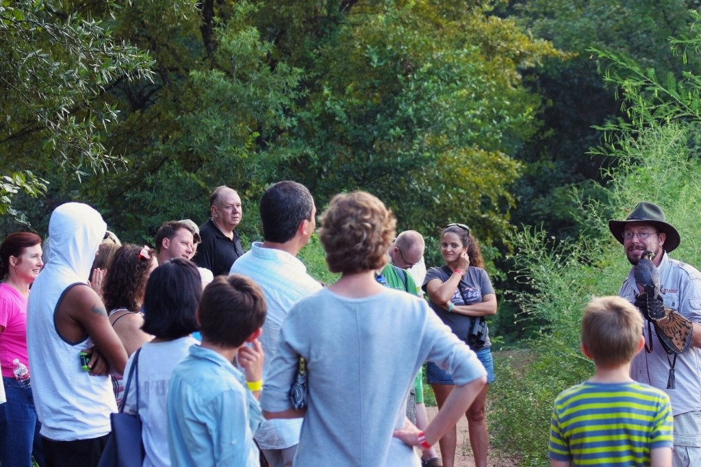 Gathering around the meadow for the Houston Arboretum's HAWK WALK with Live Birds of Prey! Kevin Gaines of Wildlife Revealed introduced us to Cricket the falcon.