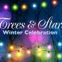Trees and stars winter celebration banner
